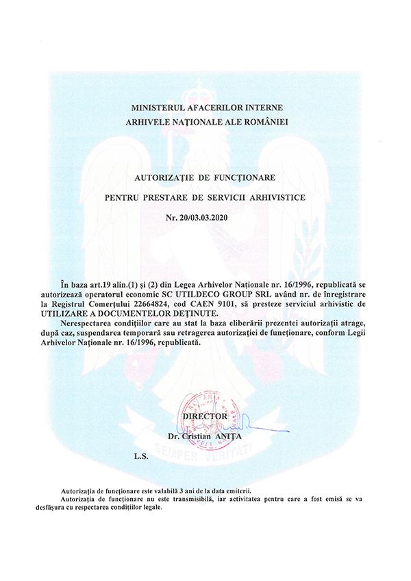 arhivare documente autorizatie 1